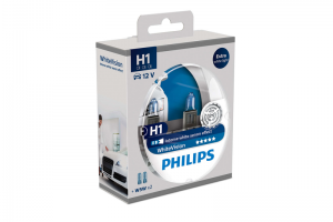 Автолампа 12V PHILIPS H1 55W WhiteVision к-кт 2 шт