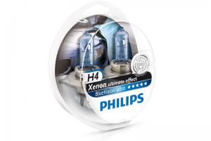 Автолампа 12V PHILIPS H4 60/55W BlueVision Ultra к-кт 2 шт