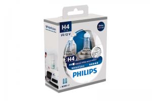 Автолампа 12V PHILIPS H4 60/55W WhiteVision к-кт 2 шт