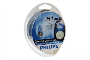 Автолампа 12V PHILIPS H1 55W BlueVision Ultra к-кт 2 шт.