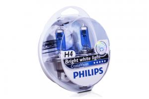 Автолампа 12V PHILIPS H4 60/55W CrystalVision к-кт 2 шт