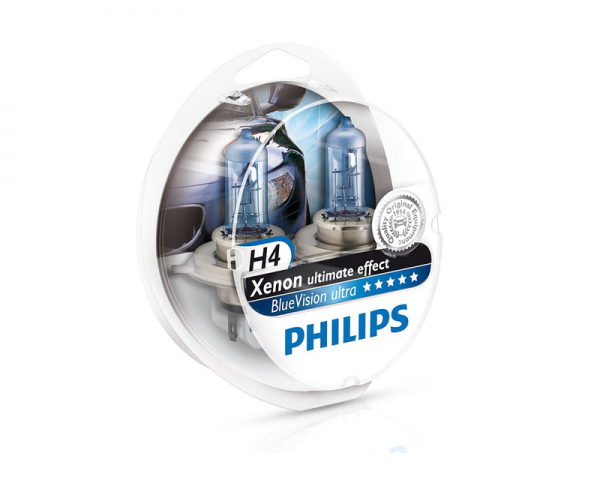 Автолампа 12V PHILIPS H4 60/55W BlueVision Ultra