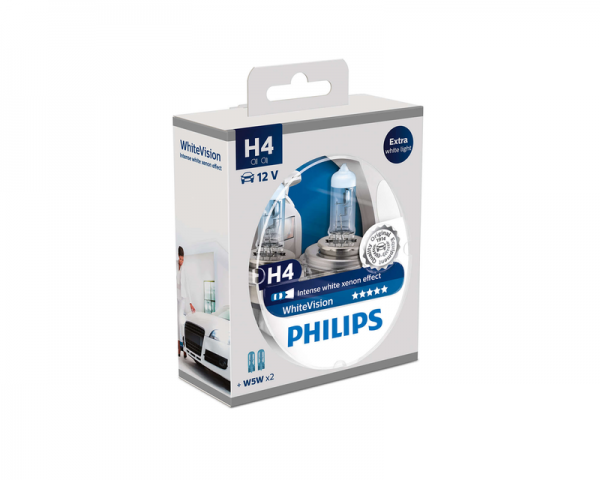 Автолампа 12V PHILIPS H4 60/55W WhiteVision