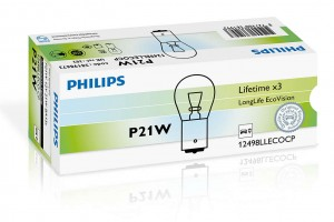 Автолампа 12V PHILIPS P21W LongLife Eco Vision