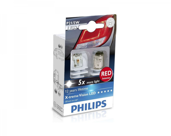 Автолампа 24V PHILIPS P21/5W RED X-TREME VISION LED
